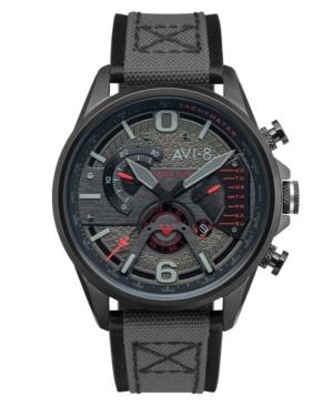 Men's Hawker Harrier Ii Black Genuine Leather and Nylon Strap Watch