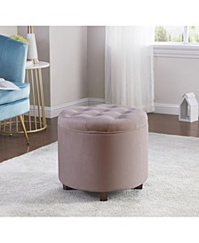 Donovan Round Tufted Velvet Storage Ottoman Foot Rest Stool or Seat with Removable Lid