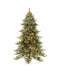 7.5' Pre-Lit Tree with Gold-Tone Glitter on Tips, 650 Ul Clear Lights