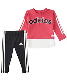 Baby Girls Long Sleeve French Terry Pullover & Tight Set