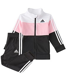 Baby Girls Zip Front Colorblock Tricot Jacket & Jogger Set
