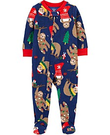 Baby Boy or Girl 1-Piece Christmas Fleece Footie PJs