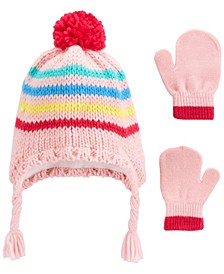 Baby Girl  2-Piece Striped Hat & Gloves Set