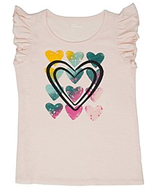 Ruffled Short Sleeve Multi Heart Graphic Tee