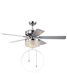 """Letta 52"""" 3-Light Indoor Hand Pull Chain Ceiling Fan with Light Kit"""