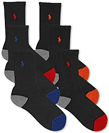 Polo Ralph Lauren 6-Pk. Color-Blocked Crew Socks, Little Boys & Big Boys