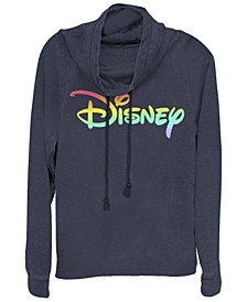 Women's Disney Logo Disney Rainbow Fill Fleece Cowl Neck Sweatshirt