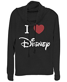 Women's Disney Logo I Heart Disney Fleece Cowl Neck Sweatshirt