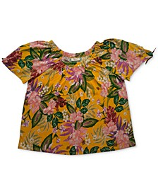 Cotton Printed Pleated-Neck Top, Created for Macy's