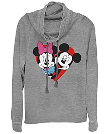 Women's Disney Mickey Classic Mickey Minnie Heart Fleece Cowl Neck Sweatshirt