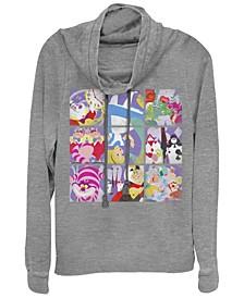 Women's Alice in Wonderland Wonder Art Blocks Fleece Cowl Neck Sweatshirt