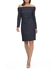 Off-The-Shoulder Glitter Sheath Dress