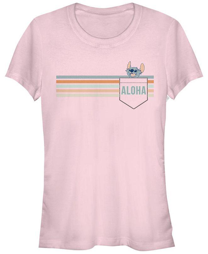 Fifth Sun Women's Disney Stitch Aloha Short Sleeve T-shirt