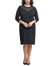 Plus Size Illusion-Yoke Sheath Dress