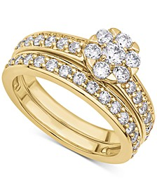 Certified Diamond (1-1/2 ct. t.w.) Cluster Bridal Set in 14K White or Yellow Gold