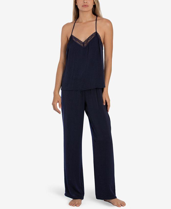 Linea Donatella - 2-Pc. Lace Trim Cami & Pants Pajama Set