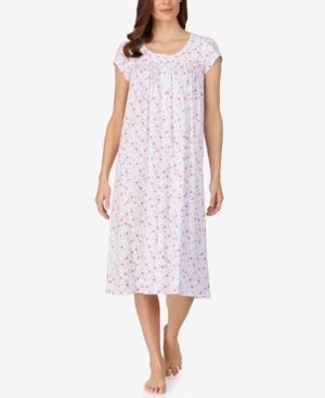 Eileen West COTTON FLORAL-PRINT LONG NIGHTGOWN