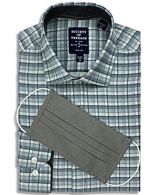 Receive a FREE Face Mask with purchase of the Society of Threads Men's Slim-Fit Non-Iron Performance Stretch Check Dress Shirt