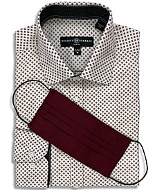 Receive a FREE Face Mask with purchase of the Society of Threads Men's Slim-Fit No-Iron Stretch Square Print Dress Shirt