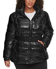 Plus Size Hooded Belted Puffer Coat