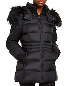 Juniors' Faux-Fur Trim Hooded Shine Puffer Coat