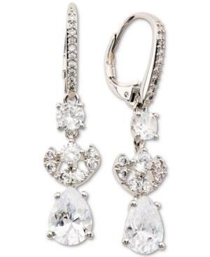 Silver-Tone Cubic Zirconia Teardrop Drop Earrings