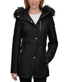 Petite Faux-Fur-Trim Hooded Quilted Coat