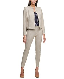 Striped Zippered Jacket, Heart-Print V-Neck Blouse & Pull-On Skinny-Fit Ankle Pants