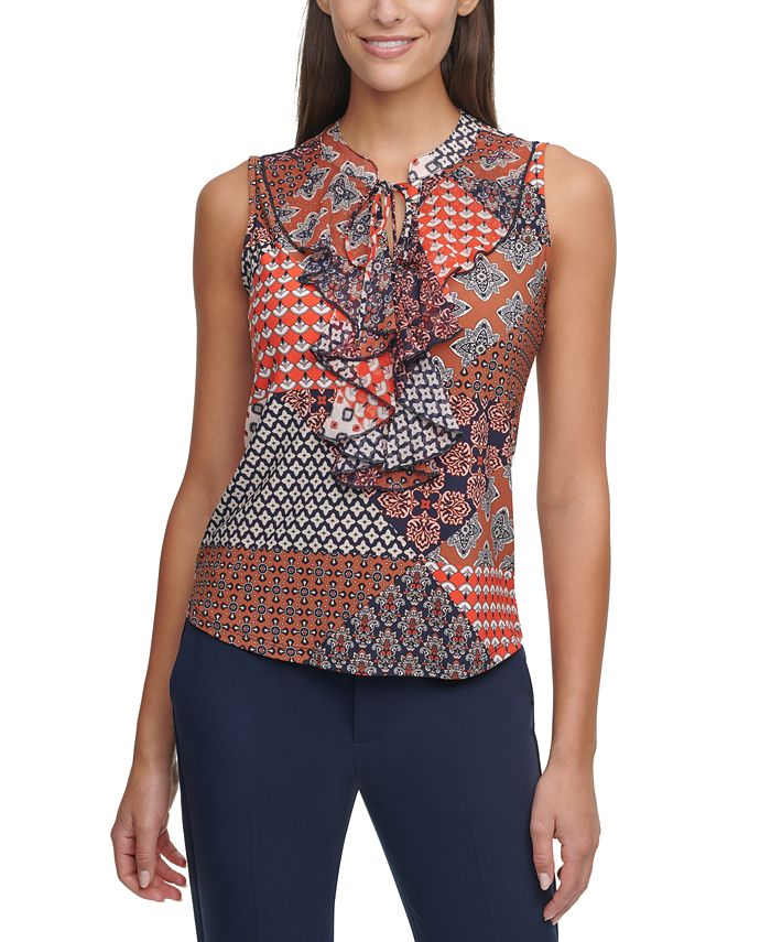 Tommy Hilfiger - Ruffled Mixed-Print Top