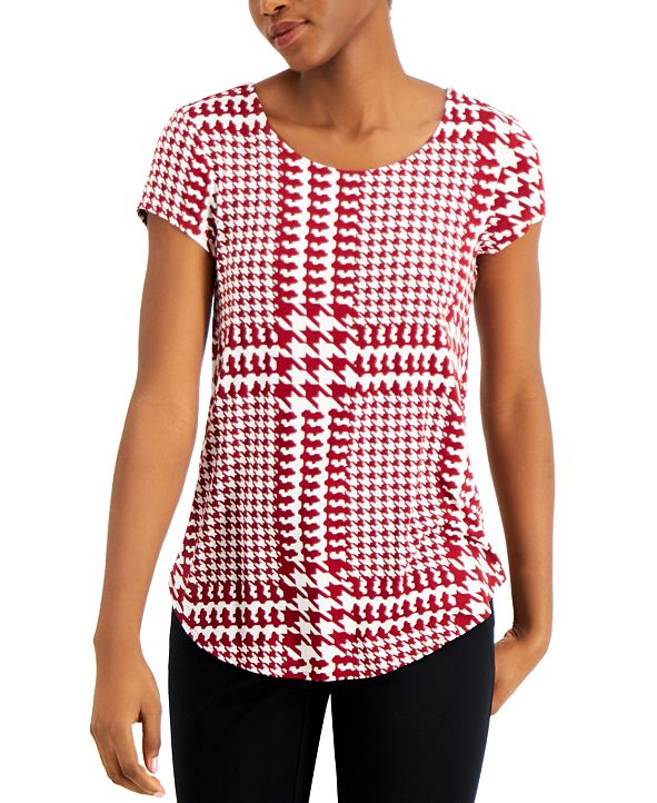 Alfani Printed Scoop-Neck Knit Top, Created for Macy's