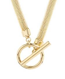 14K Gold Plated Izzy Herringbone Toggle Necklace