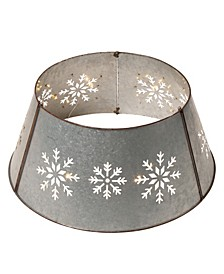 Snowflake Die-Cutting Metal Tree Collar with Light String