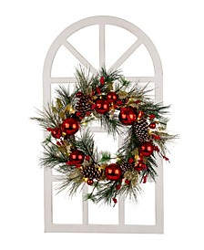 Wooden Window Frame with LED Christmas Wreath