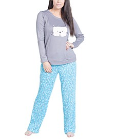 Cat Print Long Sleeve & Pant Pajama Set