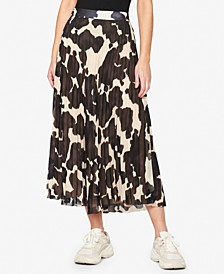 Pleat It Printed Midi Skirt
