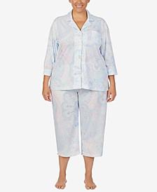 Plus Size Printed Capri Pants Pajama Set