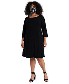 MSK Plus Size Shift Dress & Face Mask Necklace