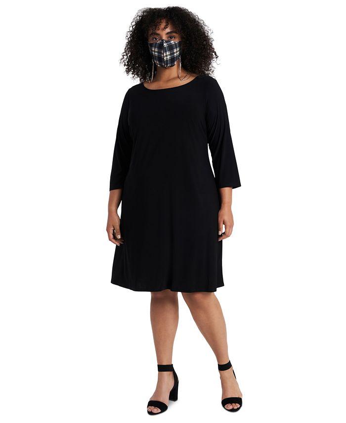 MSK - Plus Size Shift Dress & Face Mask Necklace