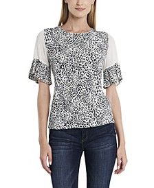 Women's Flutter Sleeve Iced Leopard Top with Chiffon Inset