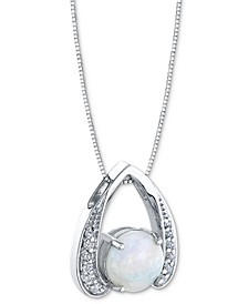 "Opal (1-1/5 ct. t.w.) & Diamond (1/8 ct. t.w.) Horseshoe 18"" Pendant Necklace in 14k White Gold"