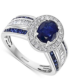 EFFY® Sapphire (2-3/8 ct. t.w.) & Diamond (1/2 ct. t.w.) Statement Ring in 14k White Gold
