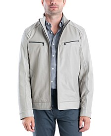 Men's Perforated Faux Leather Moto Jacket