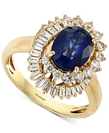 EFFY® Sapphire (1-7/8 ct. t.w.) & Diamond (5/8 ct. t.w.) Statement Ring in 14k Gold