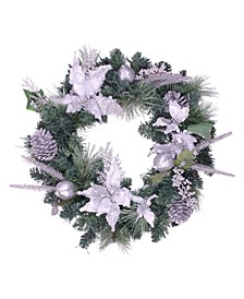 """Poinsettia and Pinecone Artificial Christmas Wreath-Unlit, 24"""""""