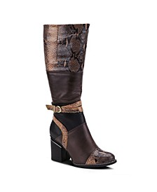 Women's Exguisitie Snake Print Tall Boots