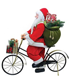 Traditional Santa Claus Riding A Bicycle Commercial Christmas Decoration
