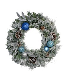 Flocked Pine with Ornaments Artificial Christmas Wreath-Unlit