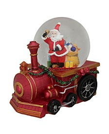 Santa Claus with Sack of Gifts On A Train Christmas Glitter Snow Globe