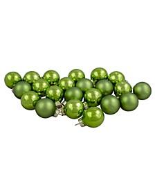 24 Count Kiwi 2-Finish Glass Ball Christmas Ornaments