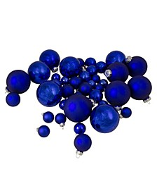 40 Count Shiny and Matte Royal and Glass Ball Christmas Ornaments